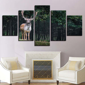 Majestic Deer 5 Piece HD Multi Panel Canvas Wall Art Frame