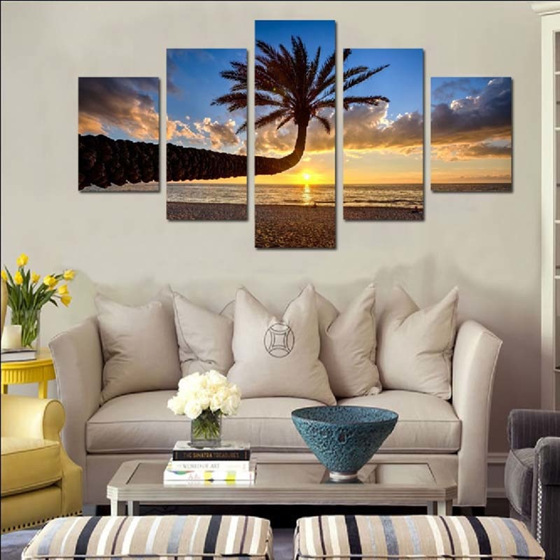 Palm Tree 5 Piece HD Multi Panel Canvas Wall Art Frame