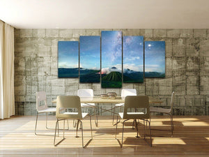 Starry Sky & Volcano 5 Piece HD Multi Panel Canvas Wall Art Frame