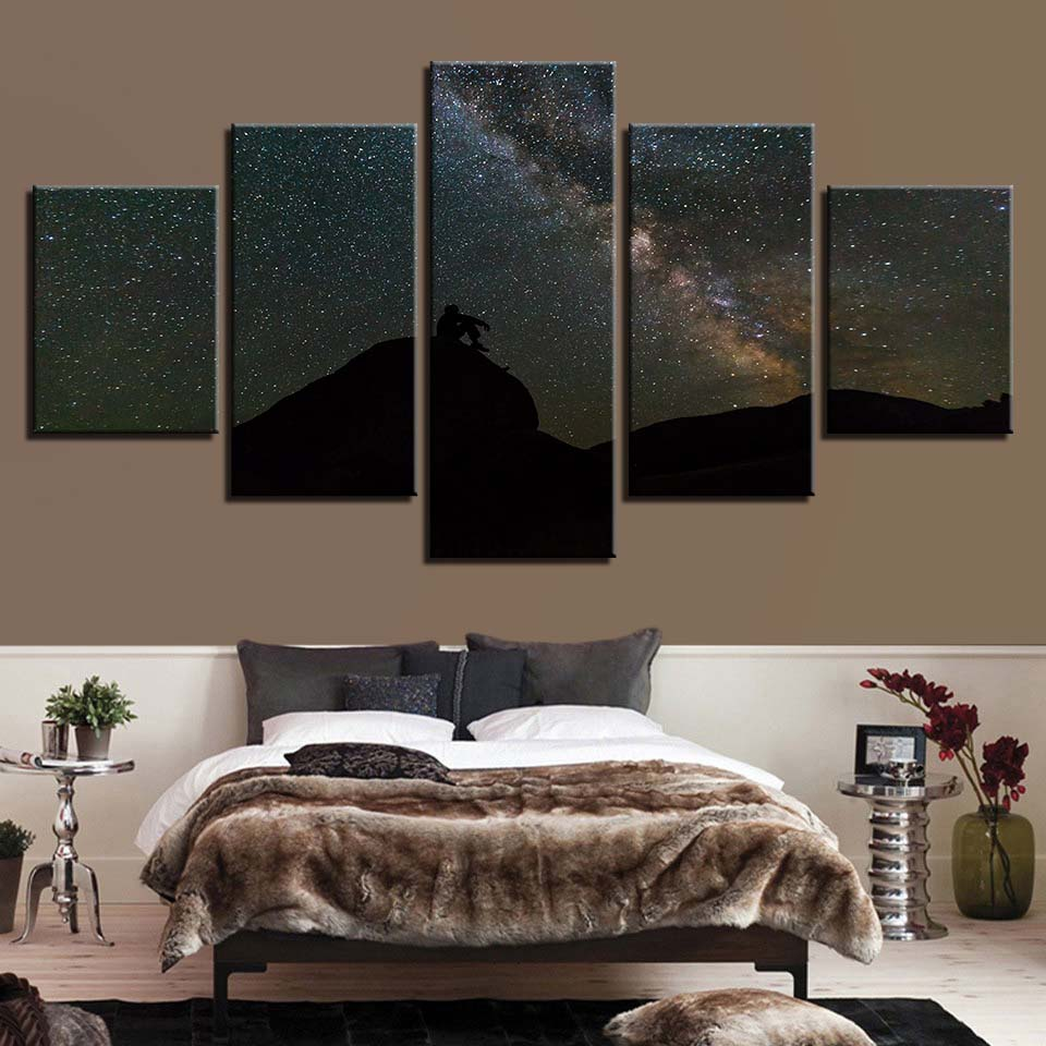 Starry Night 5 Piece HD Multi Panel Canvas Wall Art Frame