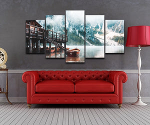 Foggy Lago Di Braies In The Morning 5 Piece HD Multi Panel Canvas Wall Art Frame