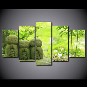 Japanese Monk 5 Piece HD Multi Panel Canvas Wall Art Frame