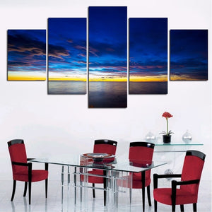 Sunset Clouds 5 Piece HD Multi Panel Canvas Wall Art Frame
