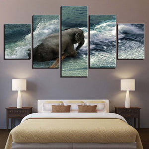 Elephant in the Ocean 5 Piece HD Multi Panel Canvas Wall Art Frame