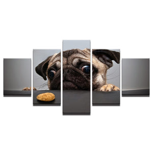 Very Lovely Dog 5 Piece HD Multi Panel Canvas Wall Art Frame
