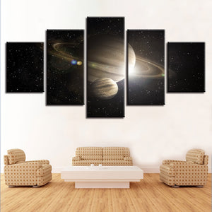 Saturn in Space 5 Piece HD Multi Panel Canvas Wall Art Frame
