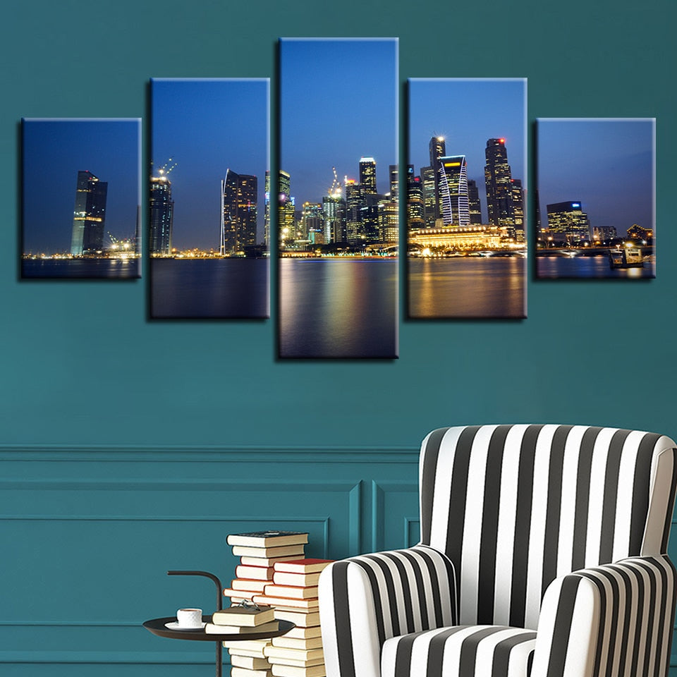 City Night Skyscrapers 5 Piece HD Multi Panel Canvas Wall Art Frame
