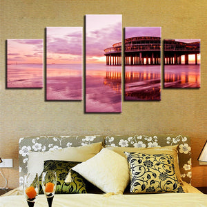 Pink Sunset Beach 5 Piece HD Multi Panel Canvas Wall Art Frame