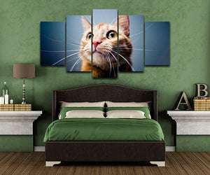 Big Eyed Cat 5 Piece HD Multi Panel Canvas Wall Art Frame