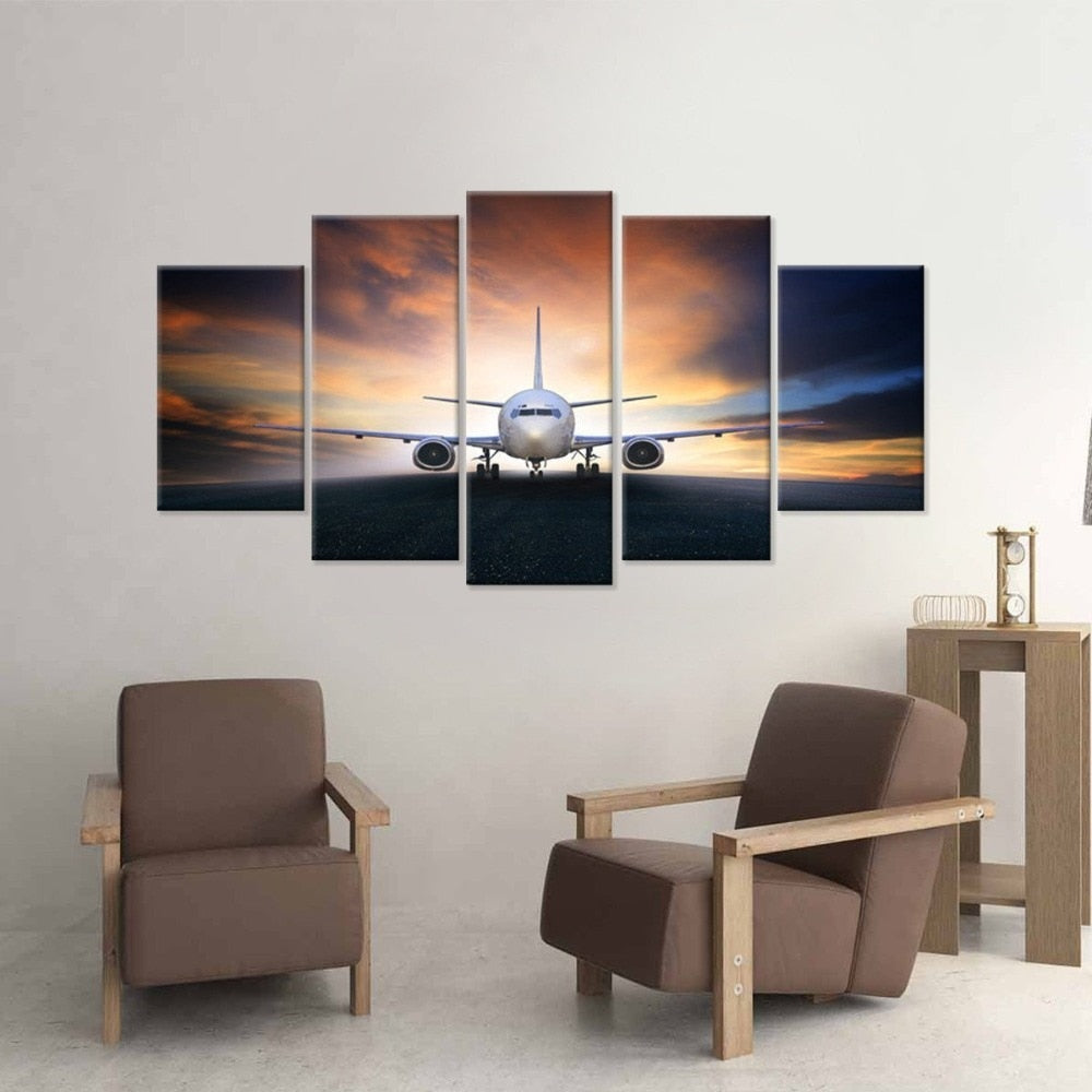 Aircraft Sunrise 5 Piece HD Multi Panel Canvas Wall Art Frame