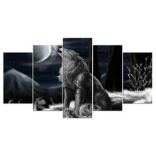 Lone Wolf 5 Piece HD Multi Panel Canvas Wall Art Frame