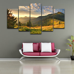 Sunset Mountain 5 Piece HD Multi Panel Canvas Wall Art Frame