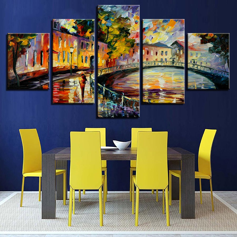 Graffiti Bridge 5 Piece HD Multi Panel Canvas Wall Art Frame