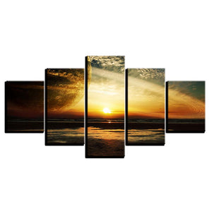 Sun Goes Down Scenery 5 Piece HD Multi Panel Canvas Wall Art Frame