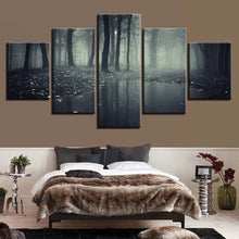 Misty Dark Forest 5 Piece HD Multi Panel Canvas Wall Art Frame