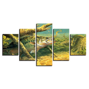 Wild Fish Under Water 5 Piece HD Multi Panel Canvas Wall Art Frame