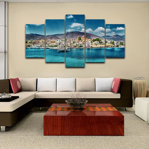 Island Hopping Cruise 5 Piece HD Multi Panel Canvas Wall Art Frame