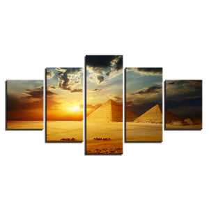Pyramid Sunset 5 Piece HD Multi Panel Canvas Wall Art Frame