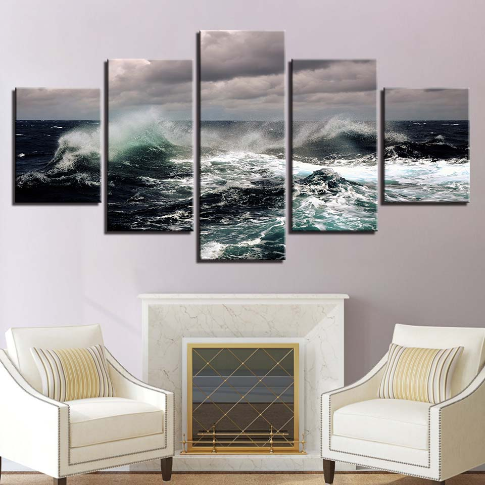 Fierce Sea Water Seascape 5 Piece HD Multi Panel Canvas Wall Art Frame