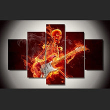 Skeletal Skull Playing Guitar 5 Piece HD Multi Panel Canvas Wall Art Frame