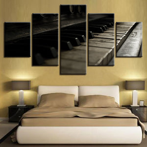 Retro Piano Keys 5 Piece HD Multi Panel Canvas Wall Art Frame