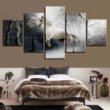 White Horse And Snow 5 Piece HD Multi Panel Canvas Wall Art Frame