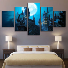Castle Under The Moon 5 Piece HD Multi Panel Canvas Wall Art Frame