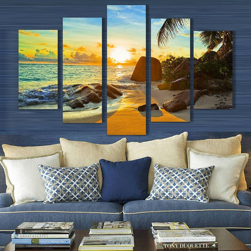 Coconut Tree Reef 5 Piece HD Multi Panel Canvas Wall Art Frame