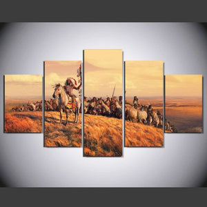 Indians on Horses 5 Piece HD Multi Panel Canvas Wall Art Frame