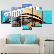 Animal Dog Wear 5 Piece HD Multi Panel Canvas Wall Art Frame