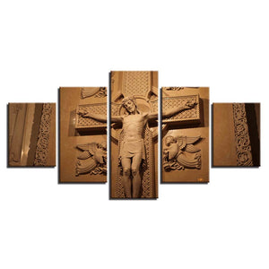 Cross And Jesus 5 Piece HD Multi Panel Canvas Wall Art Frame