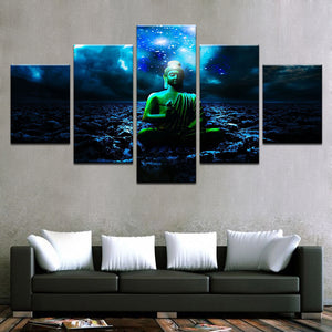 Buddha And Beautiful Starry Sky Night View 5 Piece HD Multi Panel Canvas Wall Art Frame