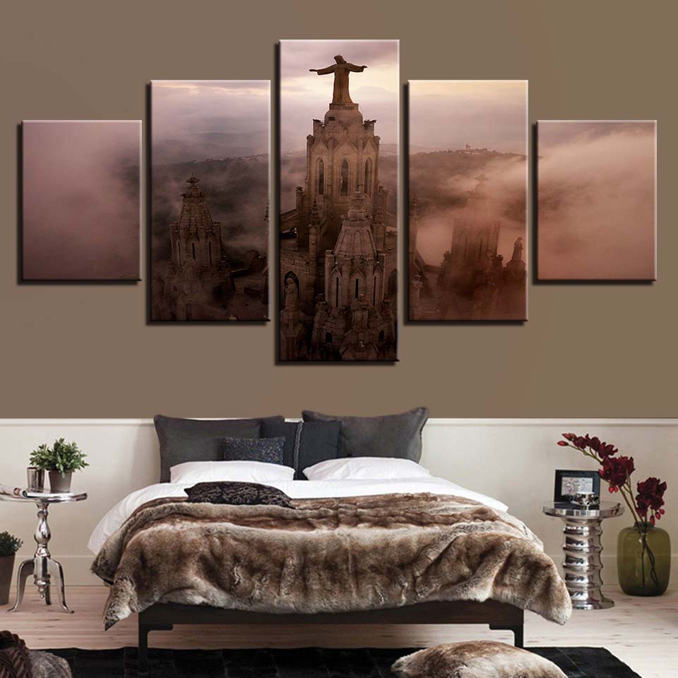 Jesus Statue 5 Piece HD Multi Panel Canvas Wall Art Frame
