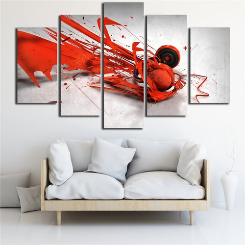 Red Abstract 5 Piece HD Multi Panel Canvas Wall Art Frame