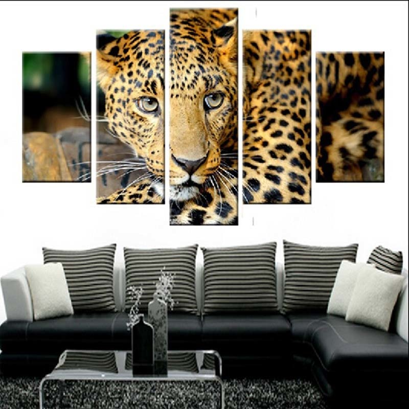 Animal Leopard 5 Piece HD Multi Panel Canvas Wall Art Frame