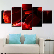 Red Tulips Flowers 5 Piece HD Multi Panel Canvas Wall Art Frame
