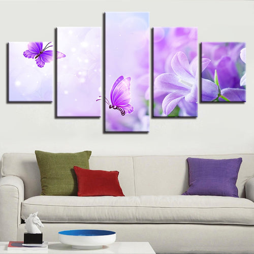 Purple Lilies And Butterflies 5 Piece HD Multi Panel Canvas Wall Art Frame
