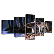 Two Wolves Gazing 5 Piece HD Multi Panel Canvas Wall Art Frame