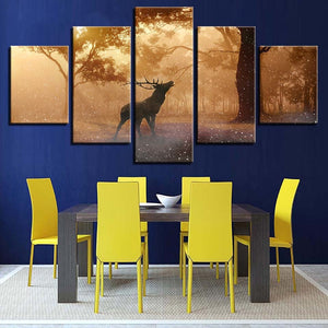Elk At Sunrise 5 Piece HD Multi Panel Canvas Wall Art Frame