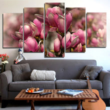Pink Magnolia Flowers 5 Piece HD Multi Panel Canvas Wall Art Frame