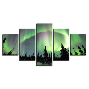 Green Forest Aurora 5 Piece HD Multi Panel Canvas Wall Art Frame