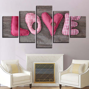 English Letter Love Pictures 5 Piece HD Multi Panel Canvas Wall Art Frame