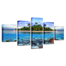 Ocean Beach 5 Piece HD Multi Panel Canvas Wall Art Frame