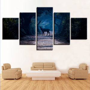 Blue Forest Animal Deer 5 Piece HD Multi Panel Canvas Wall Art Frame