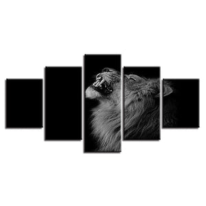 Black Shadow Lion 5 Piece HD Multi Panel Canvas Wall Art Frame