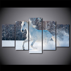 White Horse 5 Piece HD Multi Panel Canvas Wall Art Frame
