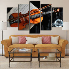 Violin And Music Notation 5 Piece HD Multi Panel Canvas Wall Art Frame