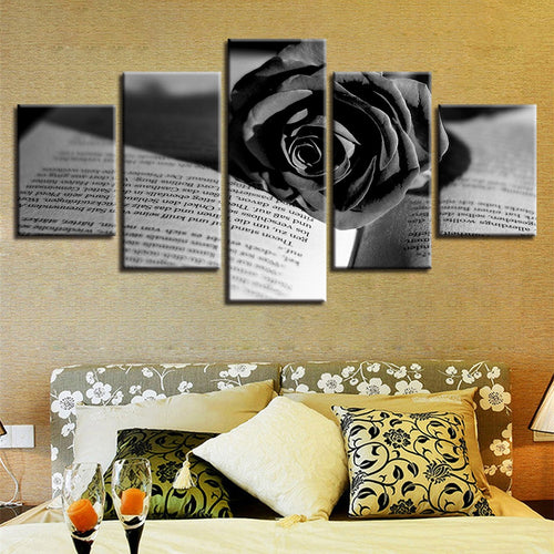 Black Rose And Book 5 Piece HD Multi Panel Canvas Wall Art Frame