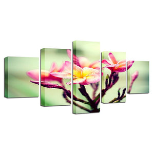 Flower Branch Snow Mountains 5 Piece HD Multi Panel Canvas Wall Art Frame