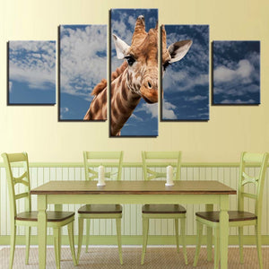 Giraffe Blue Sky And White Clouds 5 Piece HD Multi Panel Canvas Wall Art Frame